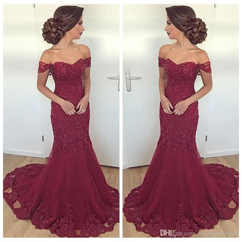 Charming Burgundy Prom Dresses Off The Shoulder Mermaid Robe De Soiree Appliques Beaded Long Formal Evening Gowns Party Wear