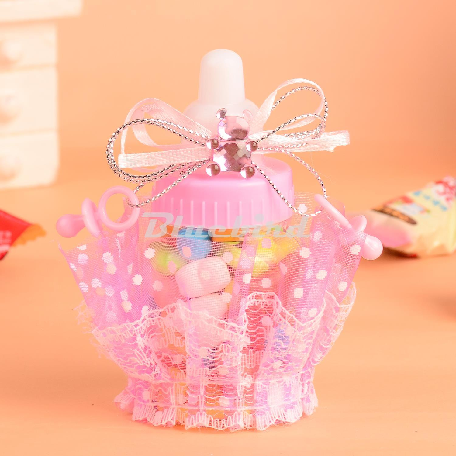Pink// Blue Baby Shower Candy Box Bottle Baptism Christening Birthday Gift Favors