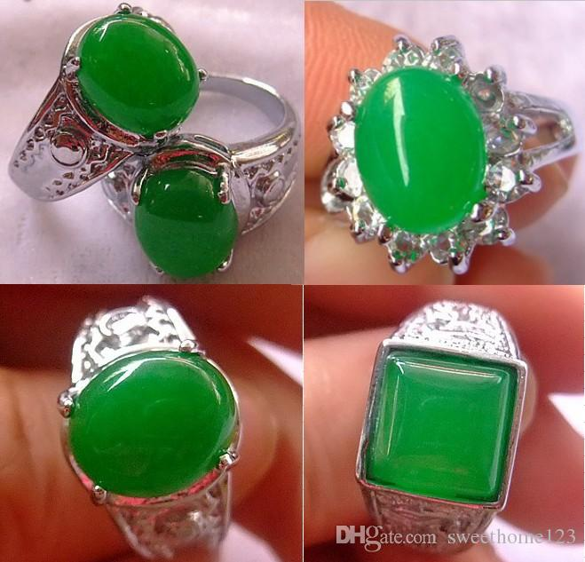 10pcs Tibet Silver Green Jade Malay jade Ring Girl Boy 925 Silver Bridal Jewelry for wedding engagement Gift