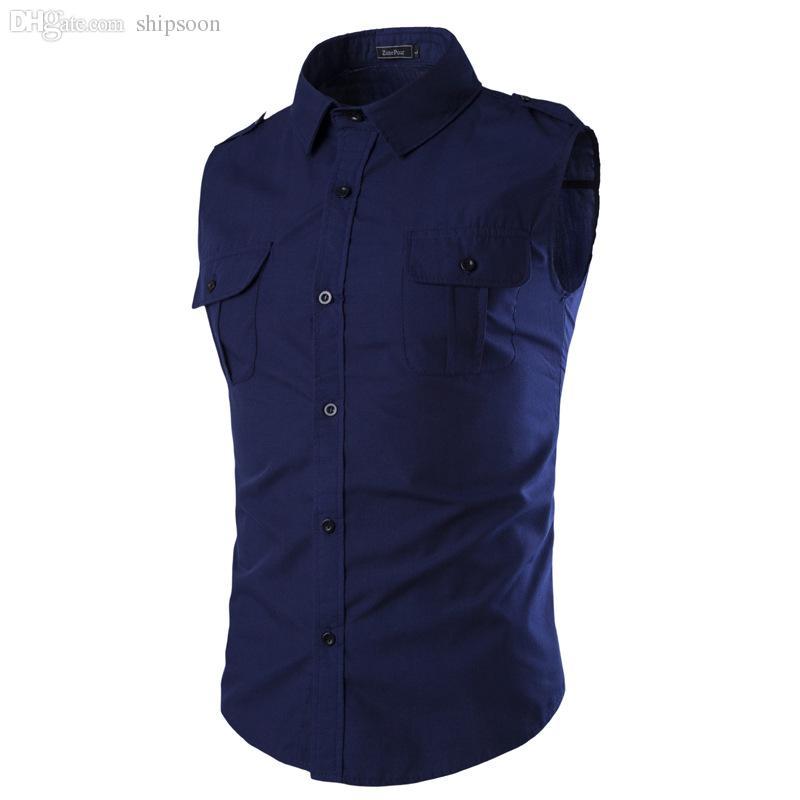 Groothandel-2016 zomer nieuwe explosie paragraaf meer kleur insignes ontwerp mouwloze casual heren shirt effen kleur, chemise homme A35