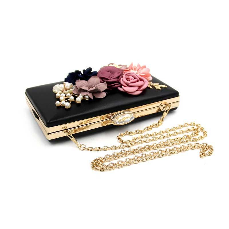 Aliceherry Luxury Women Colorful Flowers Ladies Chain Evening Clutch Bags Beaded Pearl Floral Women Party Shoulder Crossbody Bag