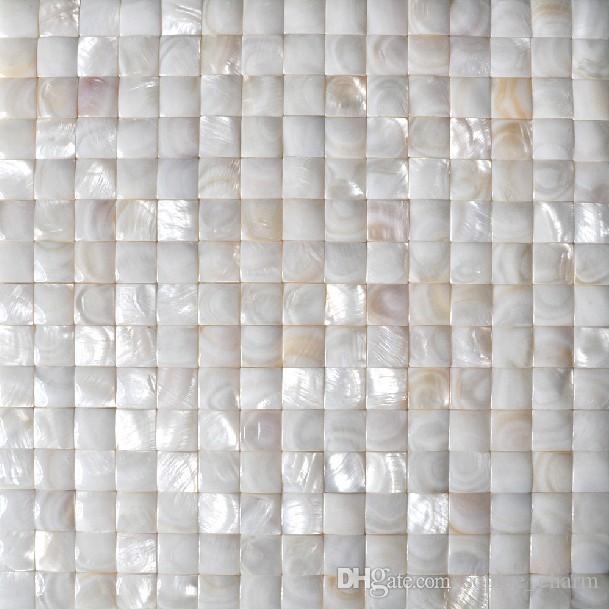 White groutless Mother of pearl tiles 3d art sea shell mosaic bathroom tiles MOP023 splashback shell tiles