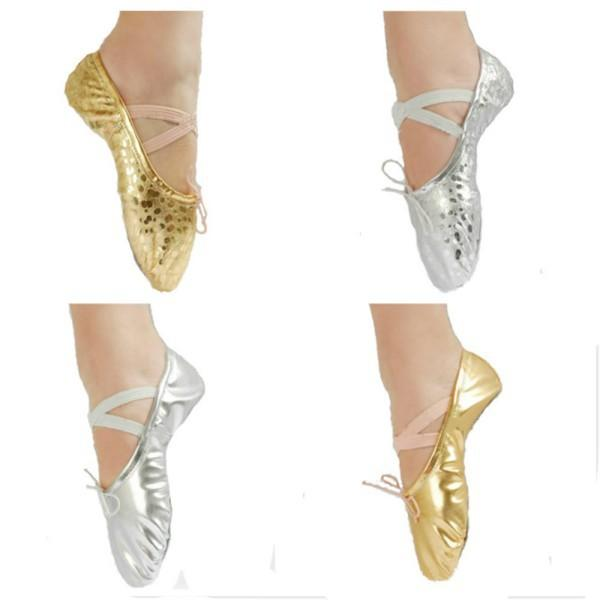 Silver Gold Women Girl Ballet Pointe Gymnastics Sequins Leather Dance Shoes NEW