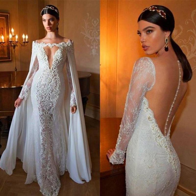 Zeemeermin elegante kant applique trouwjurken met afneembare chiffon mantel diepe nek lange mouw pure back bruidsjurk trein