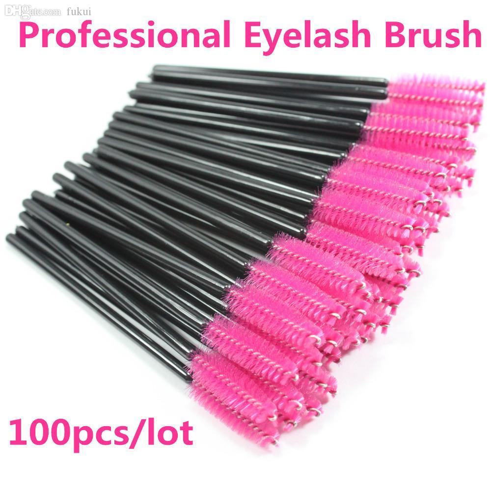 Wholesale-nouveau 100pcs / lot rose chaude fibre synthétique one-éteignable jetable cassette mascara applicateur de mascara applicateur WAND casquette de maquillage
