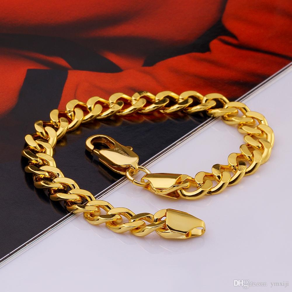 High Quality 18k Yellow Gold Plated Bold 8mm Men's Curb Chains  Bracelets Jewelry Environmental Bracelets Men's