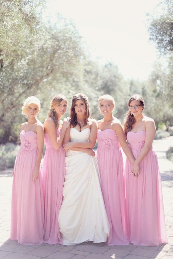 2015 Cheap Sweetheart Bridesmaid Dresses with Handmade Flower Chiffon Wedding Party Dresses Floor Length Pleated Maid of Honor Dress
