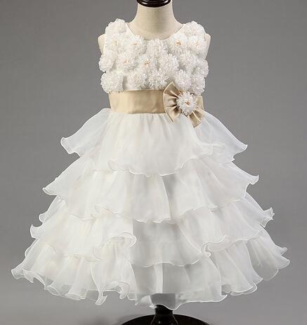 2018 NEW Flower Girls Dresses moda applique estereoscópico crianças vestidos de princesa doce estilo bowknot crianças bolo vestido 90-130 ab2092 XQZ