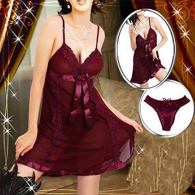 Neue Mode Plus Größe S-6XL Dunkelrot Sexy Dessous Babydoll Nachtwäsche Chemise Schnelle Lieferung Sexy Unterwäsche Kostüme