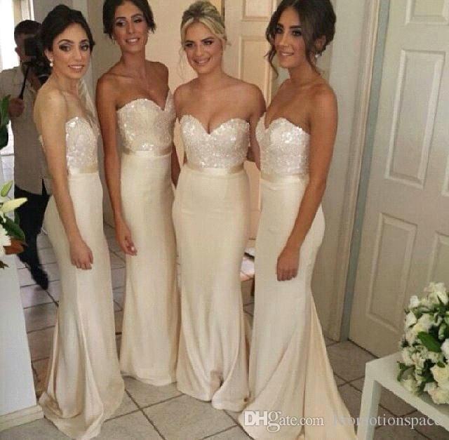 New Fashion 2015 Cheap Gold Bridesmaid Dresses Mermaid Sweetheart Sweep Train Sequins Satin Maid of Honor Formal Dresses
