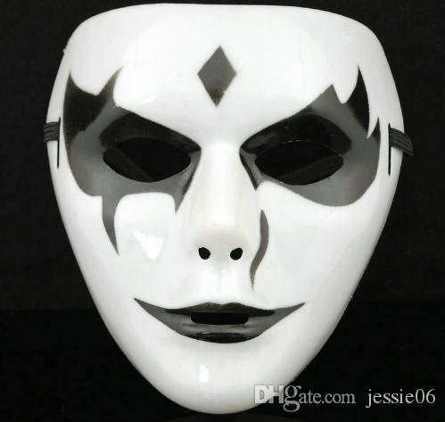 힙합 흰색 할로윈 마스크 테러 찌르레기 의상 파티 마스크 성인 여성 전체 얼굴 공포 마스크 축제 크리스마스 용품 선물