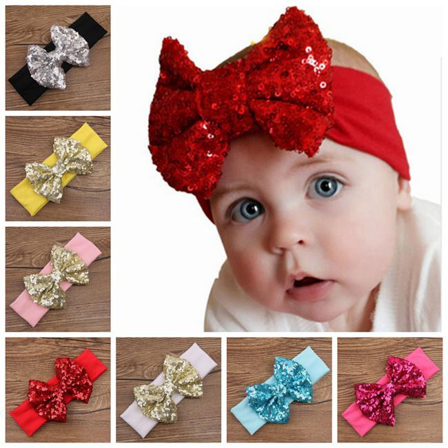 Christmas Headbands For Babies.Baby Big Sequins Bow Headbands For Girls Kids Christmas Hair Bows Babies Elastic Headbands Head Wrap Hair Accessories Hairbands Wholesale Hair
