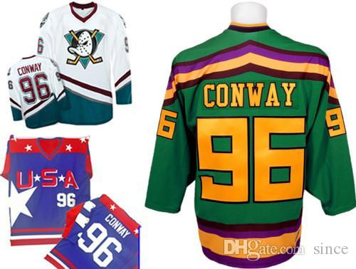 b5b53fc3a Hot Sale 96 Charlie Conway Ice Hockey Jersey Mighty Ducks Jerseys Anaheim  White/Green - Customized Any Name Number Swen On XXS-6X