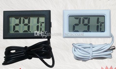 200 pcs Digital LCD Termômetro Geladeira Frigorífico Freezer Aquário TANQUE de PEIXE Temperatura -50 ~ 110C GT Preto branco cor