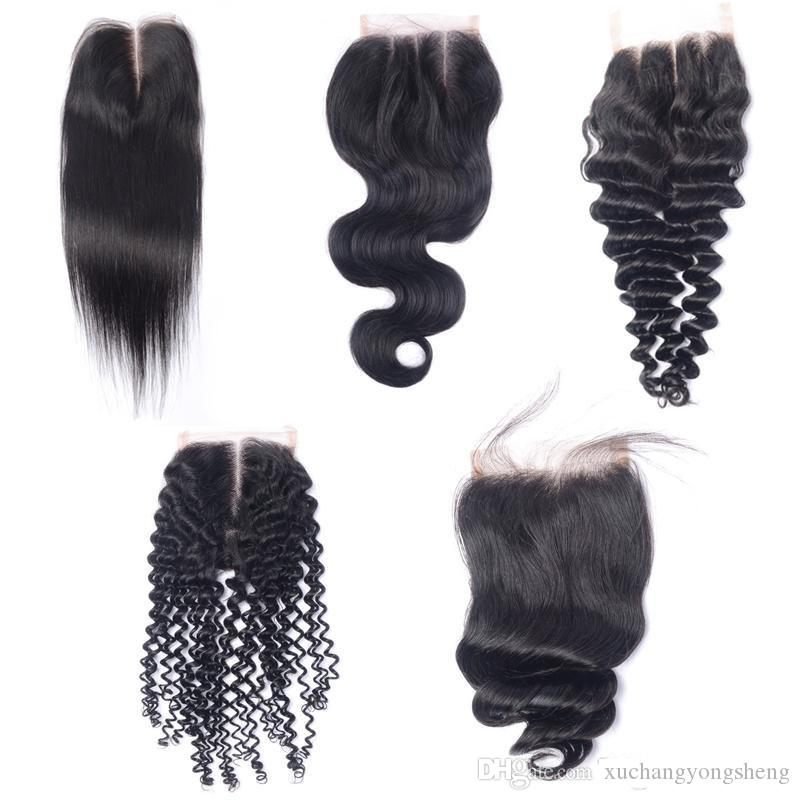 Brazilian Virgin Human Hair 4x4 Lace Closures Straight Deep Loose Body Wave Kinky Curly Malaysian Indian Peruvian Human Hair Lace closure