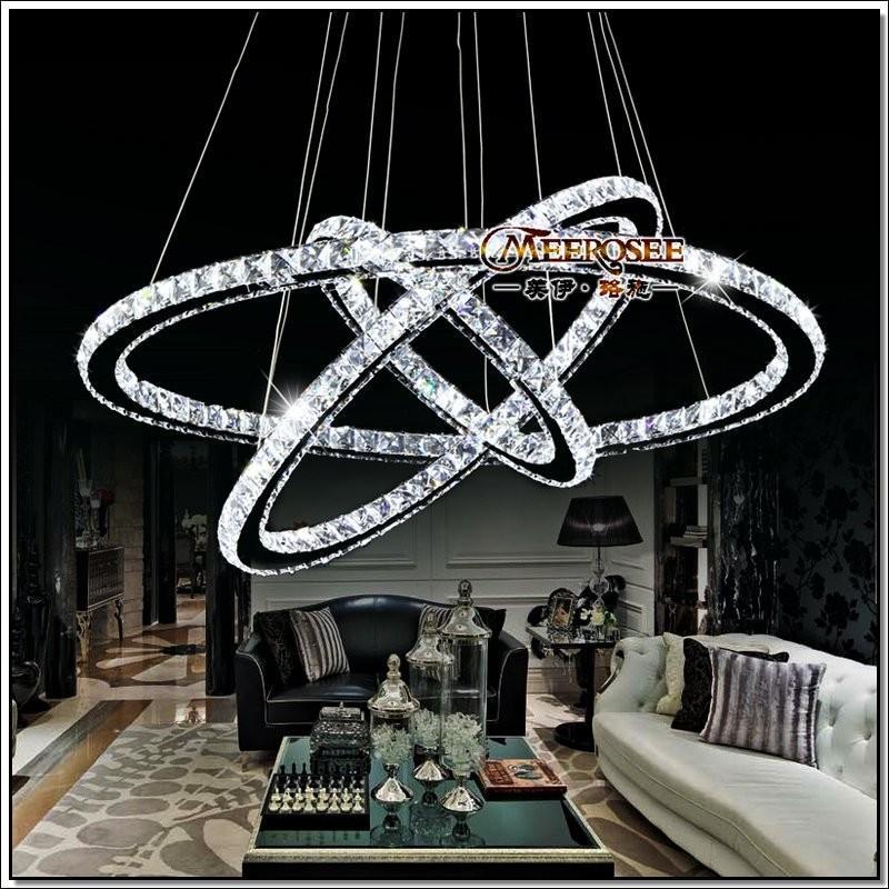 buy popular 50404 0d014 3 Rings Crystal LED Chandelier Pendant Light Fixture Crystal Light Lustre  Hanging Suspension Light For Dining Room, Foyer, Stairs Wine Bottle ...