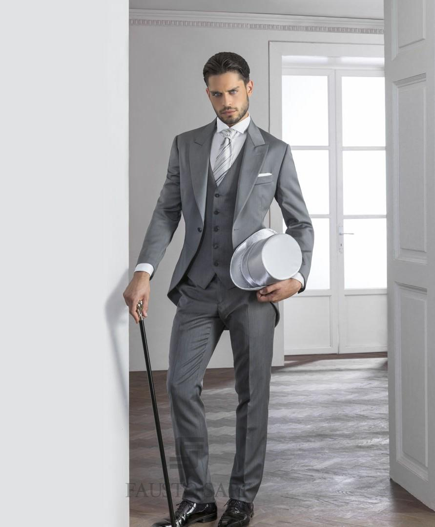 2015 Gentleman Grey Mens Suits Peaked Lapel Tuxedos one button ...