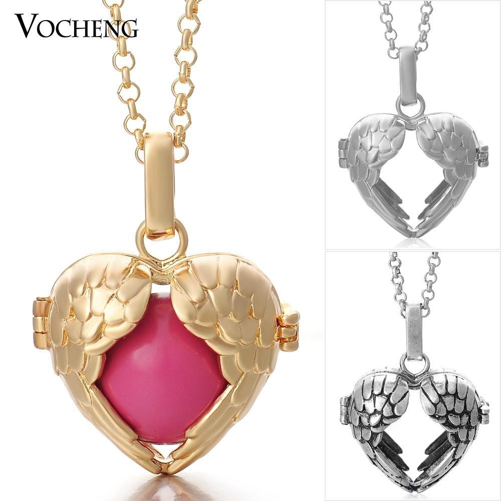 Chime Harmony Angel Miedź Wisiorki Naszyjniki Biżuteria 3 Kolory Plated z łańcuchem ze stali nierdzewnej VA-001