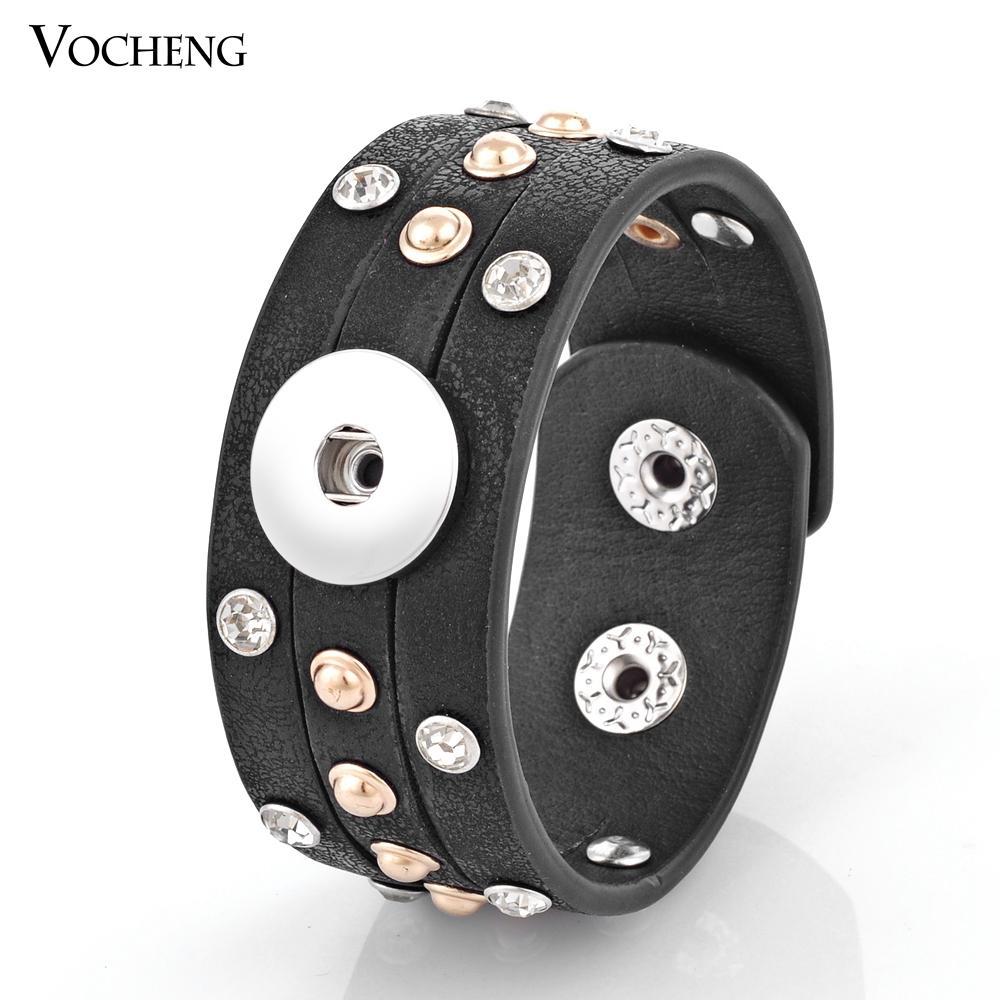 NOOSA Snap Charms Bracelet 4 색 18mm 버튼 쥬얼리 상감 크리스탈 PU 가죽 VOCHENG NN-306