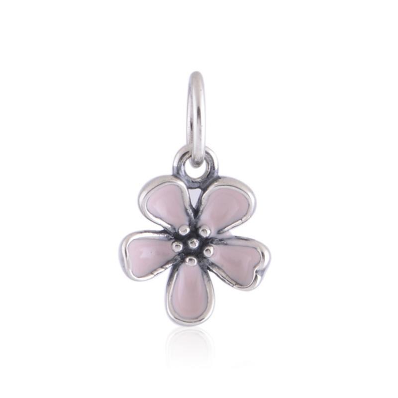 925 Flor de cerezo de plata esterlina Los encantos de las flores se adaptan a las pulseras originales cualquier collar estilo europeo 390347ES40