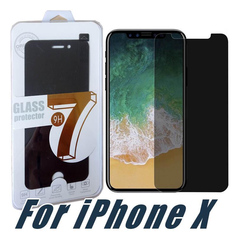 개인 정보 보호 강화 유리 안티 스파이 엿보기 화면 보호기 아이폰 X XR XS 맥스 8 7 6S 플러스 소매 패키지