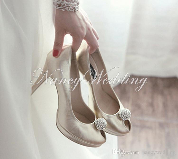 Damska Wieczór Peep Toe Wysokie Obcasy Wysokiej Jakości Prom Wieczór Party Dress Kobiety Lady Bridal Wedding Buty