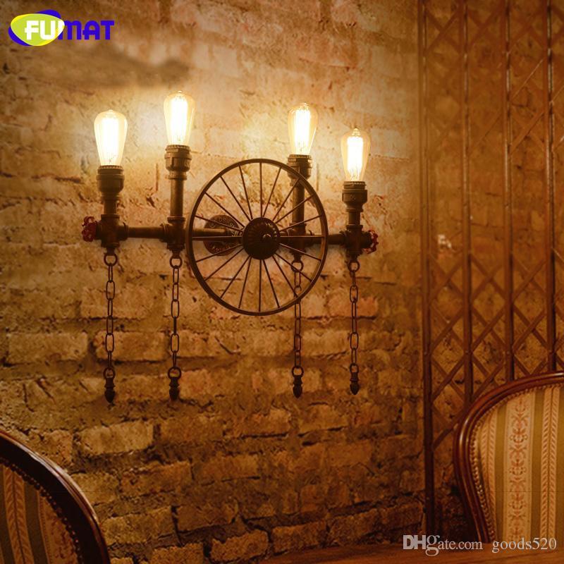 FUMAT Water Pipe Wall Lamps Vintage Aisle Lights Loft Iron Wall Lamp Vintage E27 LED Light Bulb Sconce Lights for Restaurant Bar
