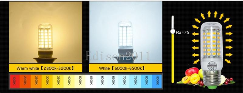 Ultra bright E27 LED Bulbs 18W Lumen SMD 5730 With Cover 56 leds E26 GU10 E14 B22 G9 Led Corn lights By DHL