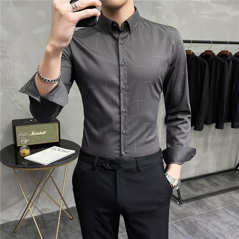 긴 소매 비즈니스 셔츠 남자 슬림 피트 캐주얼 셔츠 사회 파티 드레스 의류 고품질 사무실 작업 웨딩 블라우스 남자