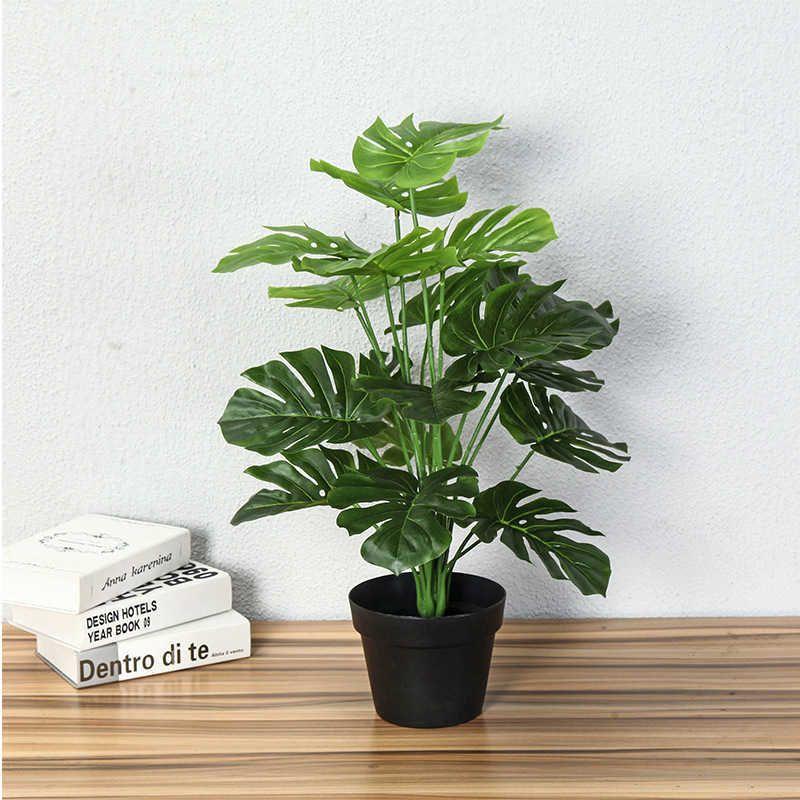 플라스틱 녹색 몬스터 나무 인공 식물 가정 장식 가짜 녹지 열대 야자 작은 식물 정원 장식