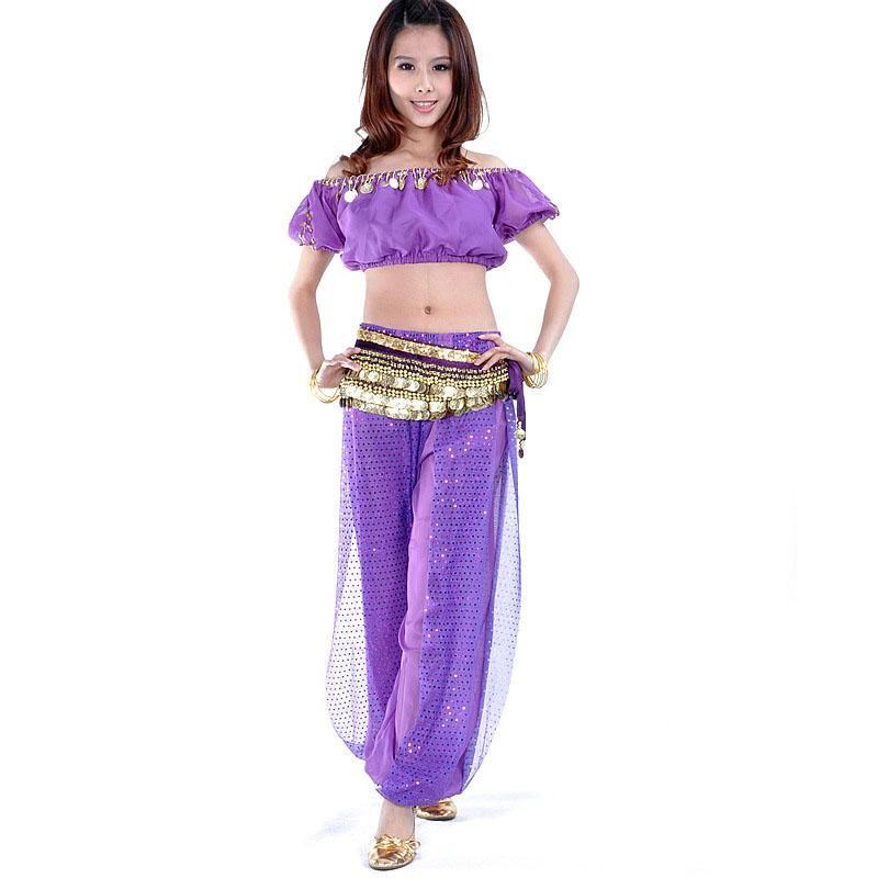 Belly Dance Costume 3 pezzi Lantern Blouse Bra Pantaloni Top Pantaloni Top Hip 13 Colori Stage Wear