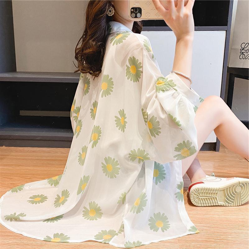 T-shirt da donna Chiffon Protezione solare abbigliamento manica lunga estate stile coreano sciolto a metà lunghezza camicia daisy