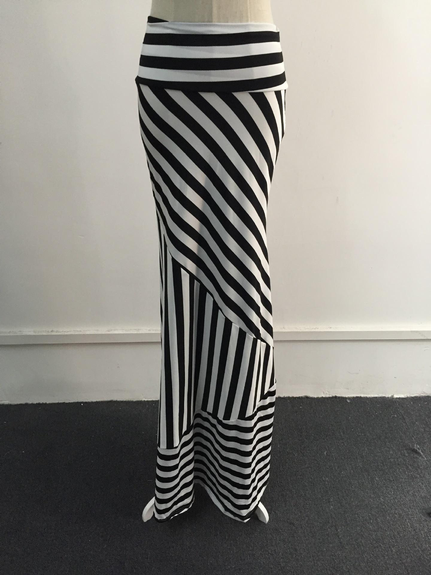 Falda Mujeres XXXL Maxi Faldas Para Mujer Saia Verano Nuevo Casual Negro Blanco Blanco Dama Alta Elasticidad Moda Larga Moda Alta Cintura