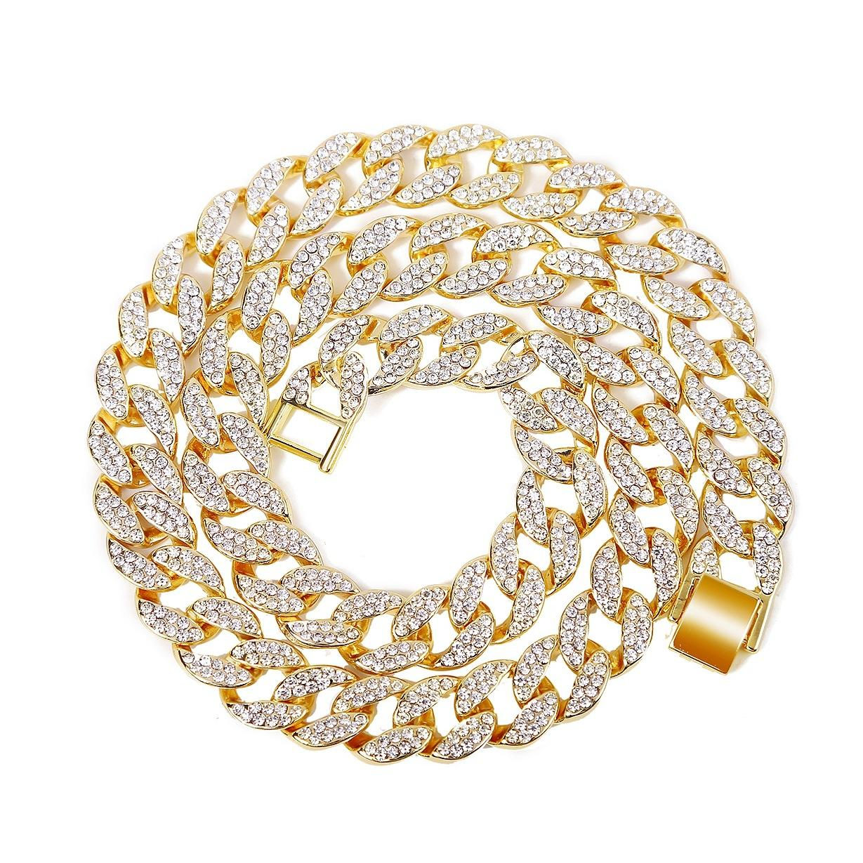 15mm mens Hip Hop necklace iced out chain bracelets gold shinning Miami Cuban Link chains braclets diamond necklaces for bling rapper women luxury jewelry large size