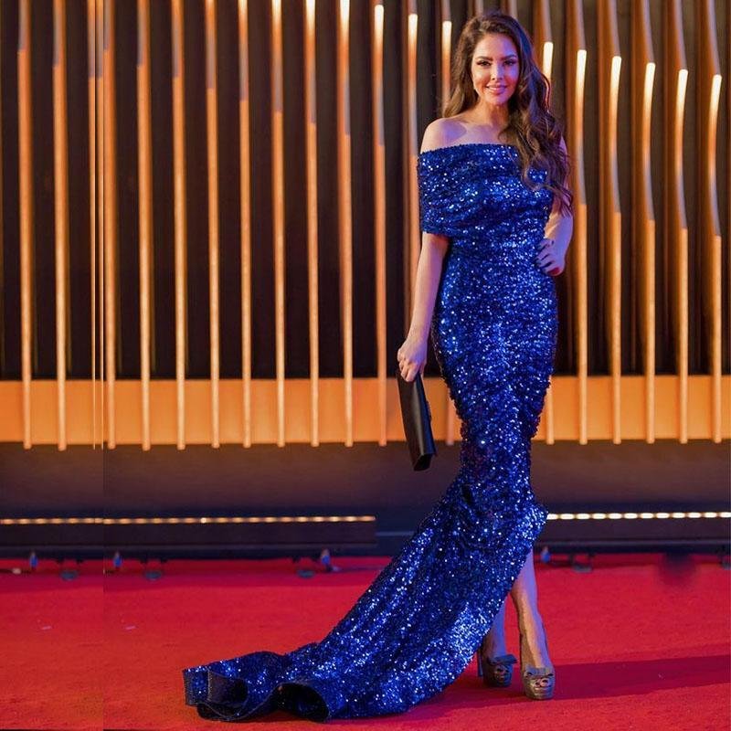 블루 비대칭 인어 인어 이브닝 드레스 원형 어깨 하이 - 저 스팽글 특별 행사 가운 2021 파티