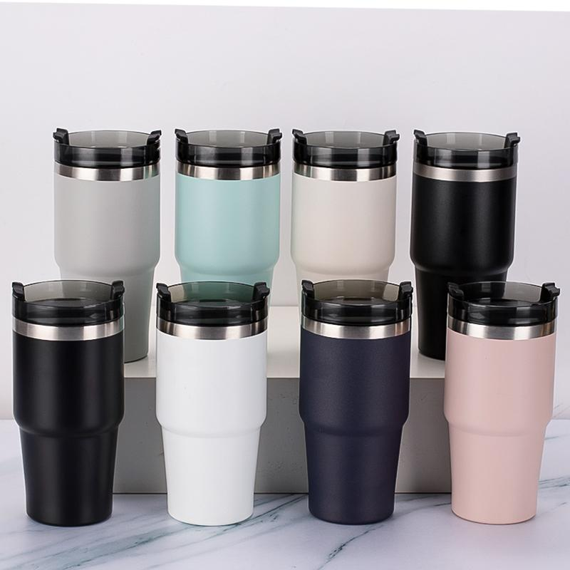 stainless steel straw Car Beer Thermos Mug cup 20oz 30oz large capacity car cups double-layer heat preservation and cold ice cream
