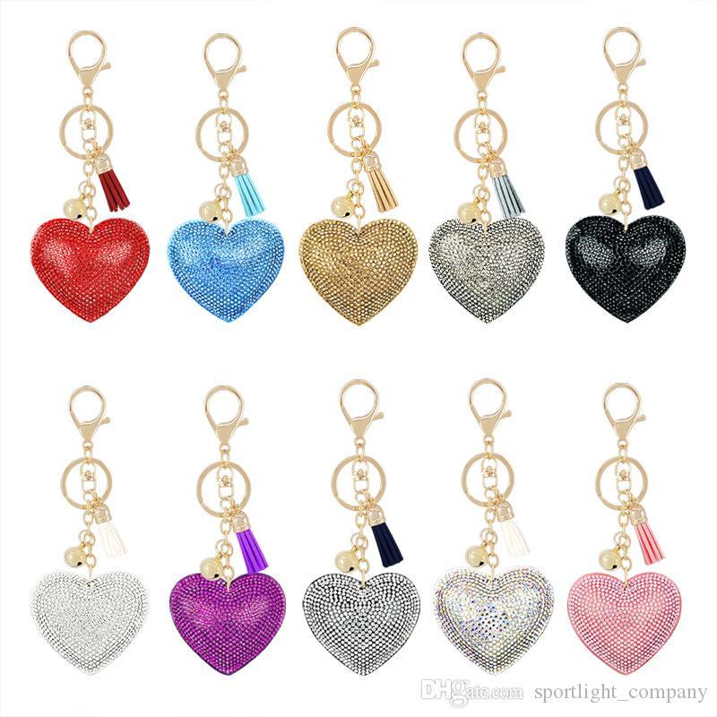 Mulher Moda Keychain Diamante Saco Pingente Chaveiro Liga de Veludo Chaveiros Pêssego Coração Urso Acessórios de Natal Presente Chaveiros Para Mulher Meninas Crianças