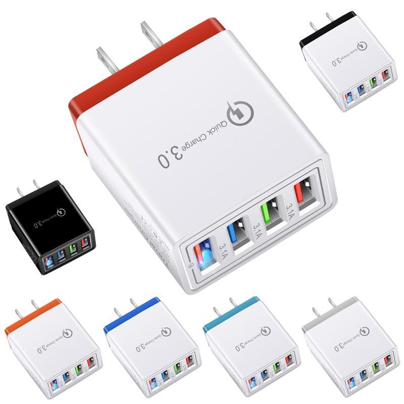 5V3A быстрый адаптер питания USB-кабели 4USB порта адаптивные настенные зарядные устройства смарт-зарядки путешествия универсальный EU US Plug OPP пакет высочайшего качества