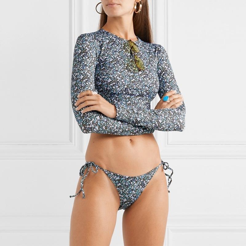 Bikini2020 Nuova stampa floreale Bikini Swimsuit a manica lunga sexy