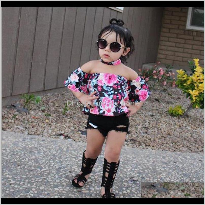 طفل رضيع الفتيات قبالة الكتف قمم قميص ثقب الزهور السراويل تتسابق الاطفال فتاة الصيف الملابس البدلة CQWM7 iuuyr