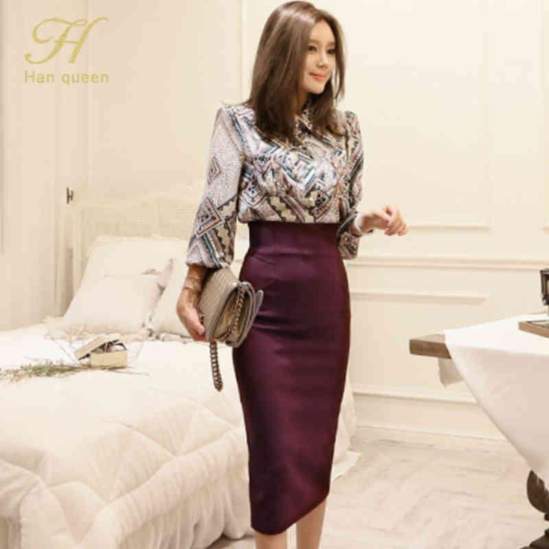 H Han Queen 2021 Otoño Simple Office Lady 2 pieza Set Vintage Impreso Blusa Camisa Slim Midi Longitud Bodycon Lápiz Falda Traje