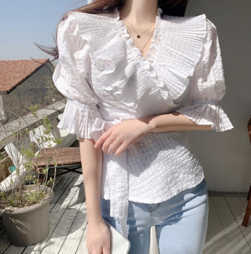 ~ Coréia do East Gate Chiffon Organza Plissada em V Pescoço Camiseta Inslc-872 Casacos das Mulheres