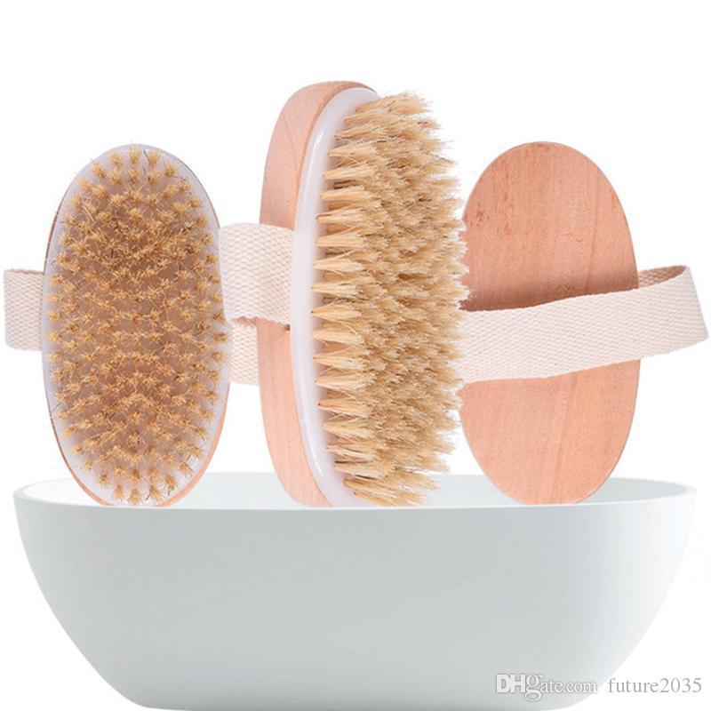 Bath Massage Brush Bristle SPA Dry Skin Body Massages Soft Cleaning Brushs Home Bathroom 12*6.4CM