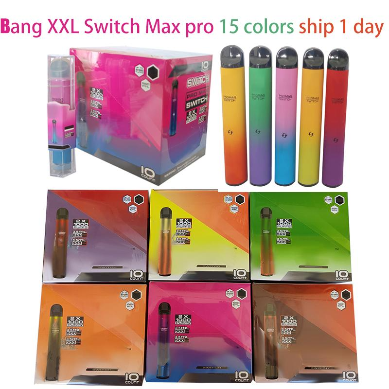 Bang XXL Descartável Vape Switch Pro Max 2 em 1 Dual E Cigarros 2000 Puffs 16350 Bateria 6ml Mais Barras XXTRA Double Vaporizer