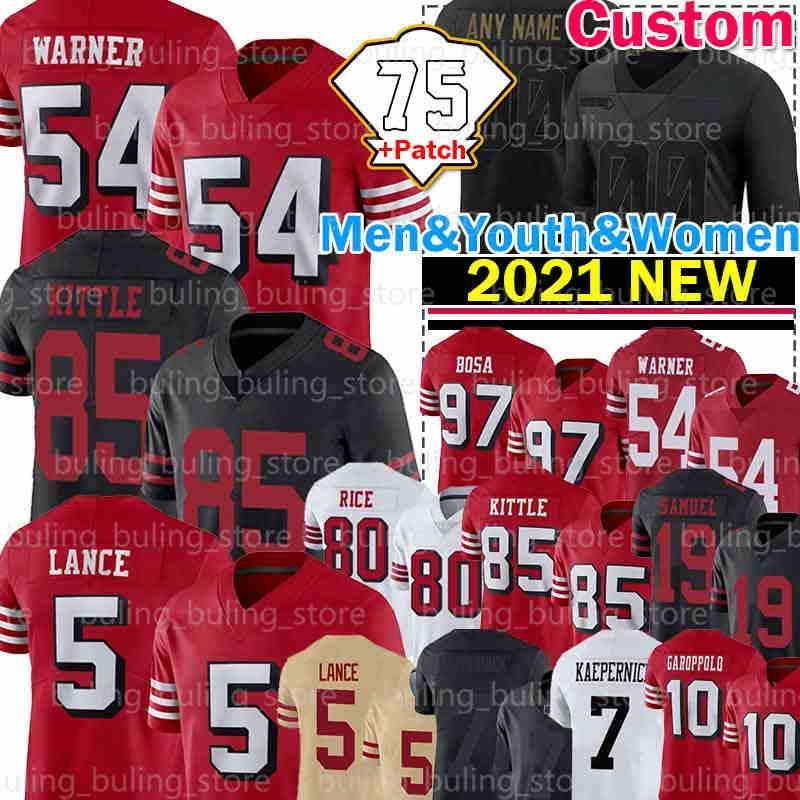 "5 Trey Lance 85 George Kittle Jersey 54 Fred Warner 97 Nick Bosa 75th Patch Colin Kaepernick Fußball San Francisco ""49ers"" Jerry Rice Deebo Samuel Jubiläum"