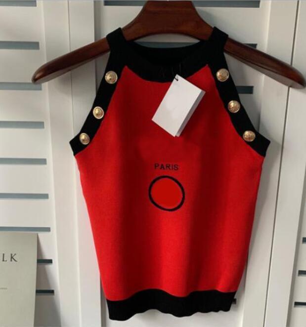 Moda Tasarımcısı Kadın Tankı Ile Mektuplar Yaz Seksi Camiş Kolsuz Lady Örme Tankları Yüksek Kalite Giyim Tops