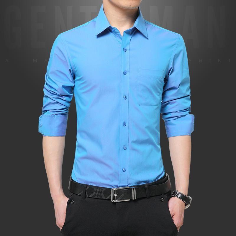 고품질 2021 드레스 셔츠 남성 패션 캔디 컬러 긴팔 남성 봄 남자의 솔리드 캐주얼 망 의류 셔츠