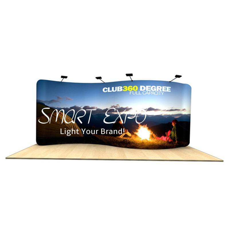 20ft s gekrümmte Wellenlinie Back-Wand-Werbungsanzeige mit dickem Aluminium-Röhrchen-Spanngewebe gedruckte grafische tragbare Tragetasche