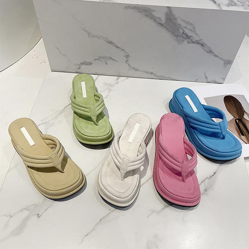 Hausschuhe Chunky Ferse Sommer Strand Plattform Frauen Flip Flops Folien Faux Angeklappt Open TOE Weiche Sohle Designer Sandalen Y2K Schuhe