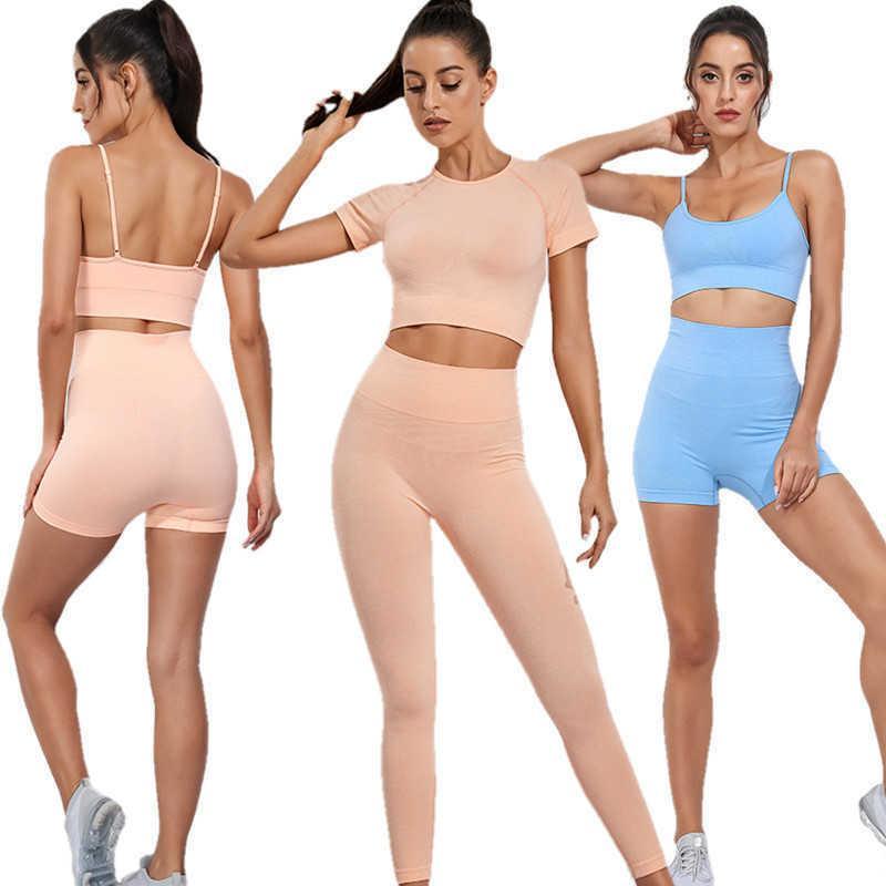 Gimnasios para mujer Sets Sports Sujetador chándal traje sin fisuras leggings para fitness Yoga Set Pantalones Cultivos Top Sportwear Deporte Mujeres